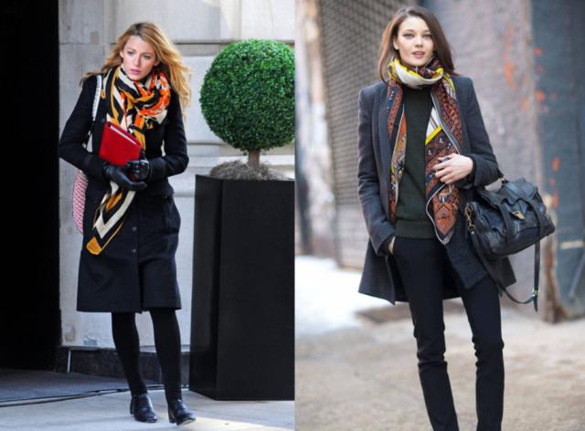 Аксессуары к классическому черному пальто6