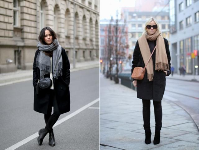 Аксессуары к классическому черному пальто1