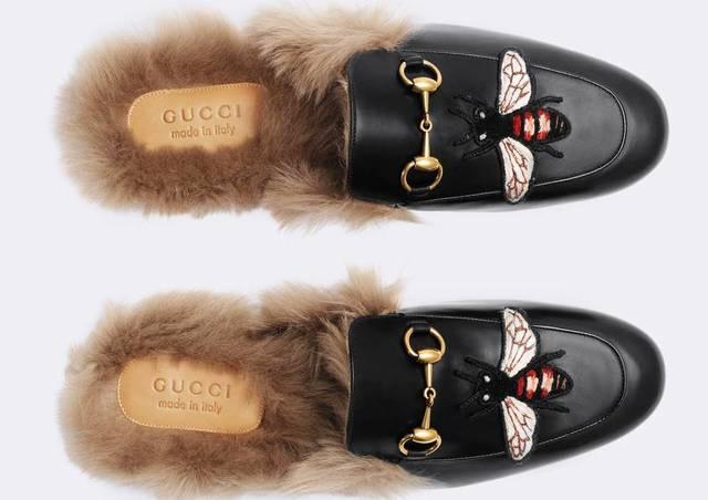 Слиперы с мехом Gucci