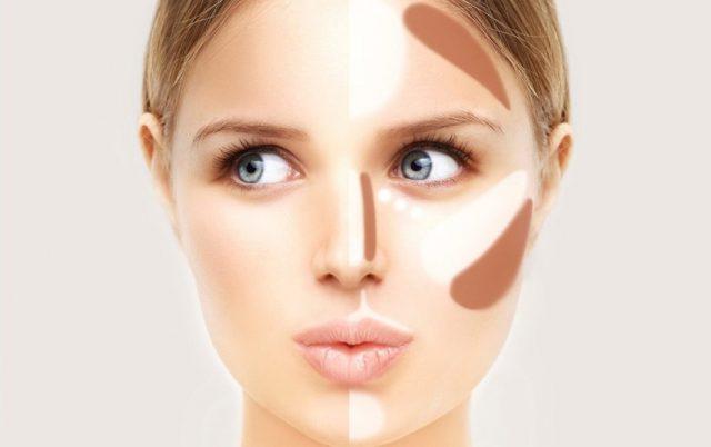 худое лицо с помощью макияжа1