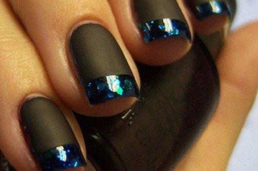 Черные ногти - матовые и глянцевые