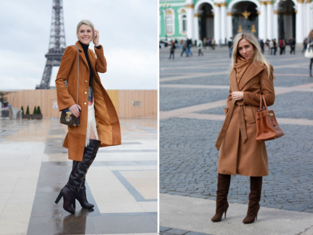 С чем сочетается коричневое пальто